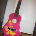 a girl, her pink guitar, and a Sunday morning learnin'…